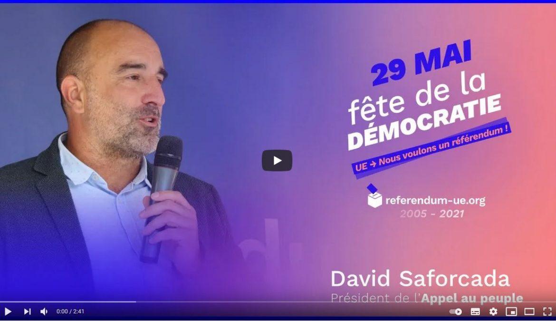 David SAFORCADA : discours à la Fête de la démocratie